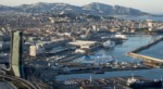 FRANCE. BOUCHES-DU-RHONE (13), MARSEILLE, AERIAL VIEW OF THE PORT OF MARSEILLE. WITH TH CMA-CGM TOWER, THE DOCKS AND THE TERRASSES DU PORT